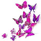 MissBirdler 24 Stk. Schmetterlinge 3D Effekt Kühlschrank Schmetterling Magnet mit Klebepunkten Wandtattoo Lila-Pink Wand Aufkleber Dekoration Einrichtung Wohnzimmer Schlafzimmer Küche Kinderzimmer Deko Butterfly Wall Sticker Magnet