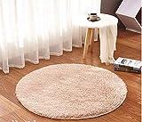 Amazinggirl Shaggy Zimmerteppich Rund Ø 120 cm waschbar modern Designe Teppich für Kinderzimmer, Schlafzimmer, Wohnzimmer Farben zum Wahl (beige, Rund Ø 120 cm)