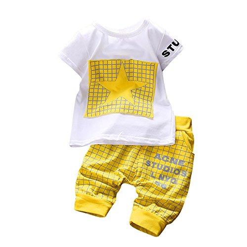 Dorical 6-24 Monat Kleinkind Baby Jungen Brief Stern Print Plaid Tops + Hosen Outfits Kleidung Set(Gelb,Medium)