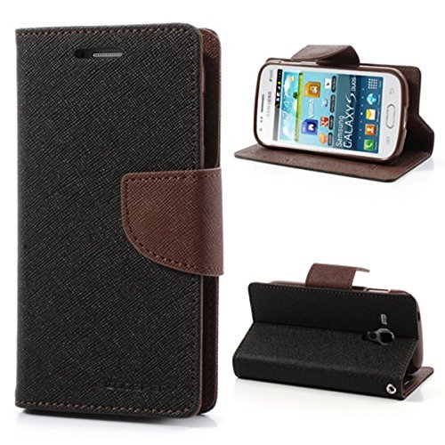 BRAND FUSON Mercury Fancy Diary Wallet Flip Cover for Samsung Galaxy ON5 BLACK & BROWN