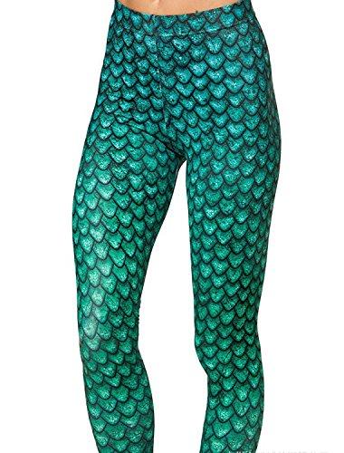 Tamskyt Damen Leggings One size Green Fish Scale
