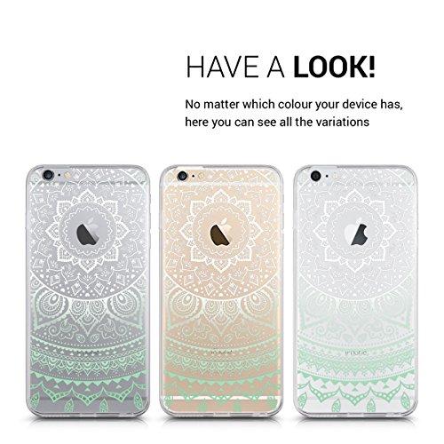 kwmobile Hülle für Apple iPhone 6 Plus / 6S Plus - TPU Silikon Backcover Case Handy Schutzhülle - Cover Metallic Rosegold Indische Sonne Mintgrün Weiß Transparent
