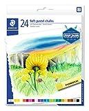 Staedtler Pastels tendres de qualité professionnelle, Pour dessiner et colorier, Boîte carton avec 24 pastels aux couleurs assorties, 2430 C24