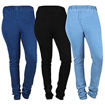 Danbro Womens Denim Jeggings Blue and Black (Waist 30 inches) Pack of 3