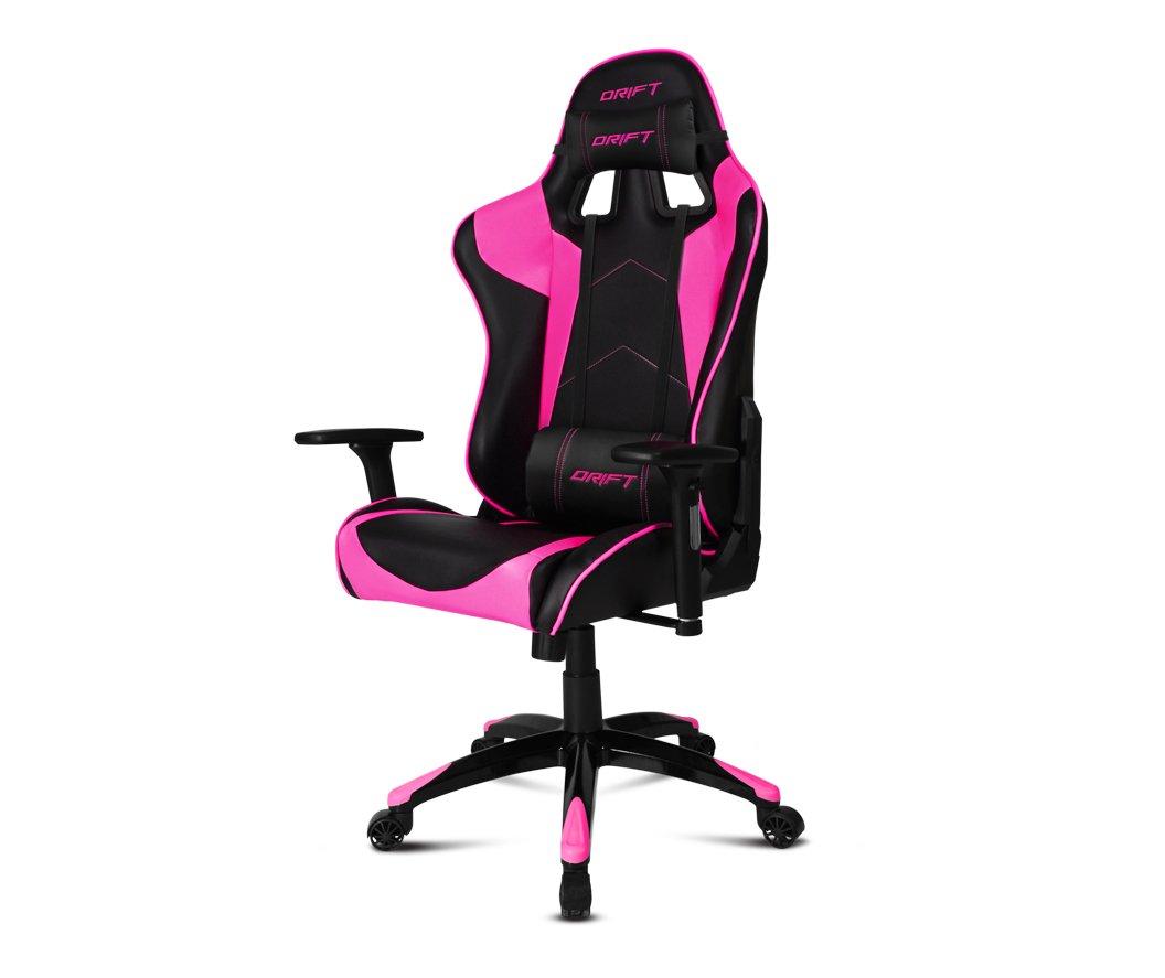 Drift DR300BK – Silla Gaming Profesional, (Polipiel Alta Calidad, Ergonómica), Color Negro/Rosa