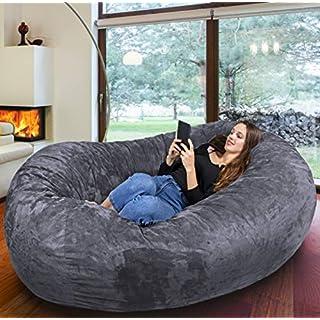 Der größte Sitzsack Europas - Riesiger Giga Sitzsack in Dunkel Grau mit 1500l Memory Schaumstoff Füllung und Waschbarem Bezug - Gemütliches Sofa, Riesen Bett, Bean Bag für Kinder und Erwachsene