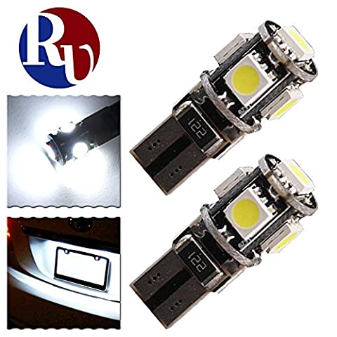 RVNI 2 x T10 5-SMD 5050 LED Light Canbus Error Free White Wedge LED Car Lights Source Replacement Bulbs Side Map Interior Lamps W5W 194 168