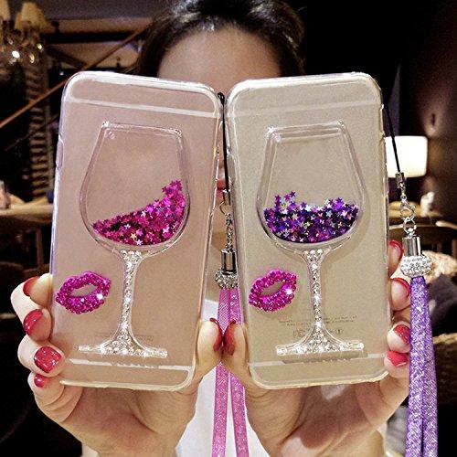 Vandot Samsung Galaxy S6 Coque de Protection Etui Transparent Antidérapant Pour Samsung Galaxy S6 Etui Protection Dorsale Étui Slim Invisible Housse Cover Case en TPU Gel Silicone Hull Shell-Blanc Verre à vin - Pourpre