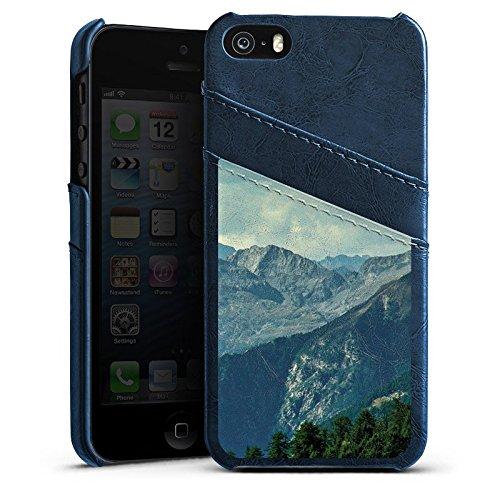 Apple iPhone 4 Housse Étui Silicone Coque Protection Paysage alpin Montagne Chaîne de collines Étui en cuir bleu marine