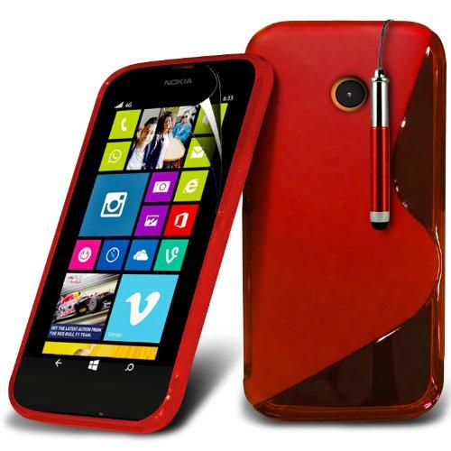 ( Orange ) Nokia Lumia 630 Hülle Abdeckung Cover Case Premium Fitted schutzhülle Tasche PU-Leder-Schlag mit 3 Kredit- / Bank-Karten-Slot-Kasten-Haut-Abdeckung mit LCD-Display Schutzfolie, Poliertuch u La ligne de S + Pen (Rouge)
