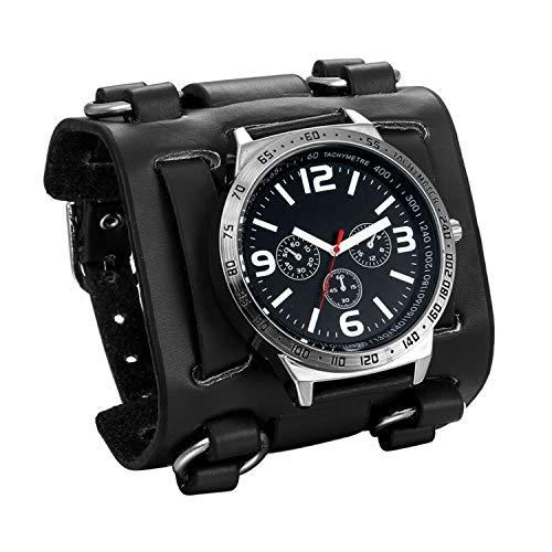 JewelryWe Herren Armbanduhr Analog Quarz 30M Wasserdichte Sportuhr Uhren mit Schwarz Breit Leder Echtleder Armband
