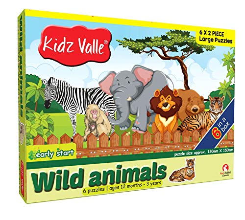 Kidz Valle Early Start Wild Animals Set of 6, 2 Piece Puzzles 2 Pieces 12 Months - 3 Years