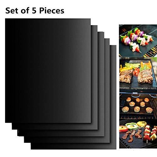Extsud Set de 5 Tapis de Cuisson Tapis BBQ Barbecue Plaque Feuille de Cuisson Four 40*33cm pour barbecue gaz charbon électrique 100% Anti-adhérent