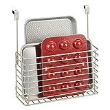 mDesign estantes para cocina – Prácticas repisas colgantes – Baldas metálicas para colgar en la puerta del armario – Para guardar tablas de cortar, moldes, recetarios y más – plateado mate