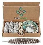 Sage Smudge Kit - Bastoncini di Salvia Bianca ~ Abalone Shell 5-15 cm ~ 5,1 cm treppiedi ~ Piuma e Sabbia Bianca
