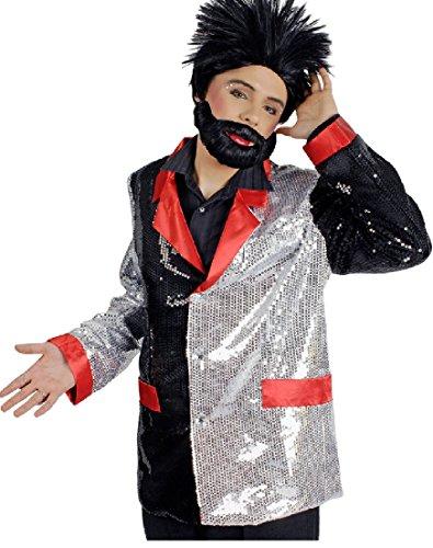 hwarz-rot-silber Herren Pailletten Jacket Casino Gr.50-52 (Schwarze Pailletten Jacke Erwachsene Kostüme)