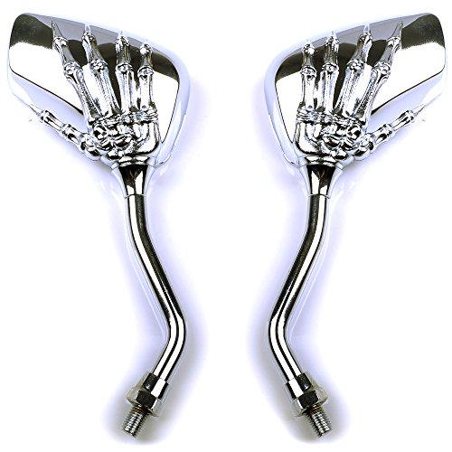 (Versand aus Hamburg) 2 x Motorrad Rueckspiegel Lenkerspiegel Spiegel silbern Skelet 8mm-10mm fuer Roller Scooter QUAD ATV,Suzuki,Honda, Kawasaki,Yamaha, Ducati, Aprilia,Vespa, Kymco, Piaagio, AGUSTA, KTM, BMW