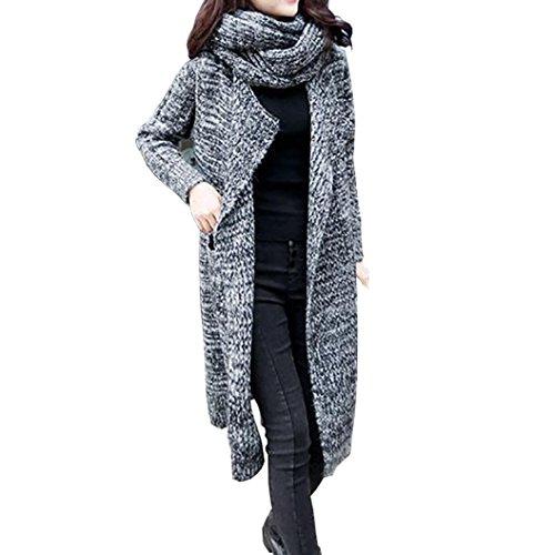 LuckyGirls Frauen Wolljacke übergroße lose gestrickte Strickjacke Schal Kragen Winter Mantel Parka (Dunkelgrau)