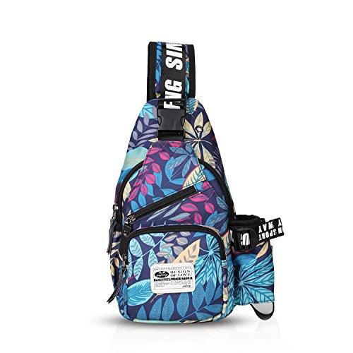 FANDARE Sling Bag Rucksack Umhängetasche Brusttasche Messenger Bag Schultertasche Hiking Bag Daypack Crossbody Bag Chest Pack Sports Reisetasche Wasserdicht Polyester Blau (Body Tasche Sling)
