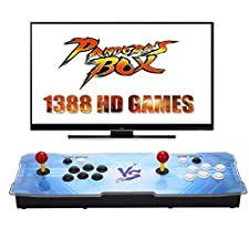 [1388 HD Arcade Games] GroGoo Arcade Video Game Console 1388 Retro Games Pandora's Box 5s Plus Colorful LED Arcade Machine Double Arcade Joystick Built-in Speaker