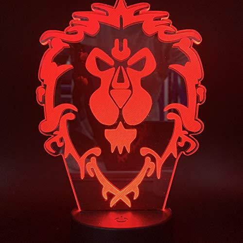 3D Illusion Nachtlicht, Led Tisch Schreibtisch Lampen, Lion King Nachtlichter, 7 Farben Usb Ladung Beleuchtung Schlafzimmer Dekoration Für Kinder Weihnachten Geburtstagsgeschenk