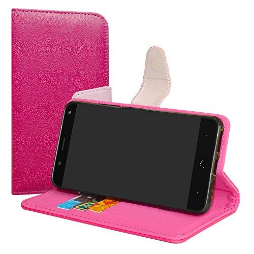 LiuShan BQ Aquaris VS/Aquaris V Hülle, Brieftasche Handyhülle Schutzhülle PU Leder mit Kartenfächer und Standfunktion für BQ Aquaris VS/Aquaris V (5,2 Zoll) Smartphone,Pink