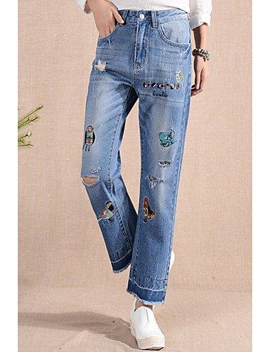 PU&PU Damen Zeitgenössisch Tiefe Hüfthöhe Micro-elastisch Jeans Bootcut Hose,Bestickt Druck, Blue, 26 - Bootcut-jeans Bestickt