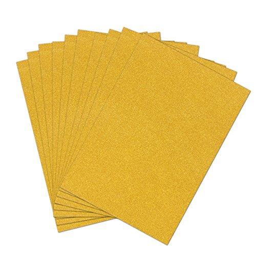 Kaimeng 10 Blatt Misscrafts Glitzer Papier Karte Lager A4 Glitter Karton Papier für Sekt Karte(Gold)