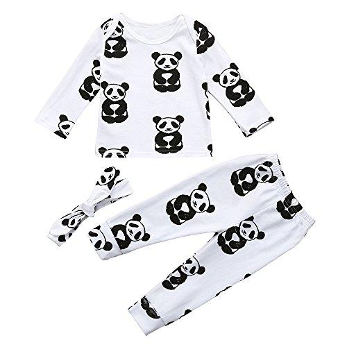 Shopaholic0709 Neugeborene Kleidung, Baby-Junge-Mädchen Bluse + Hosen Stirnband -