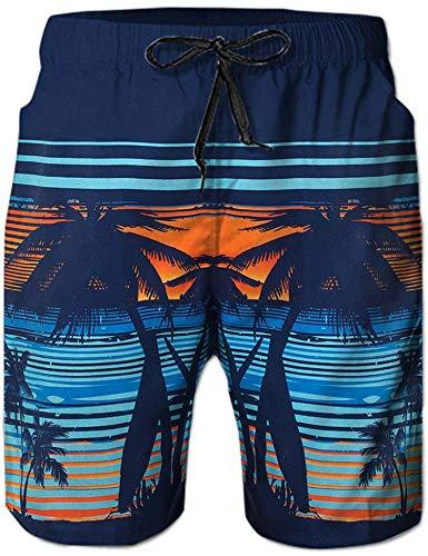 f992ae083d Loveternal Shorts de Playa Hawaianos para Hombre de Secado Rápido Cool  Graphic Coco árboles de Natación