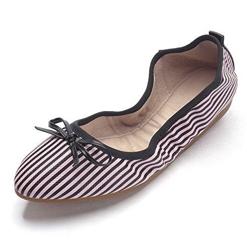VogueZone009 Femme Pu Cuir à Talon Bas Pointu Couleurs Mélangées Tire Chaussures à Plat Rose