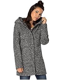 SUBLEVEL Damen Wollmix Mantel mit Kapuze | Warmer Wintermantel im Melange Look in Schwarz & Grau