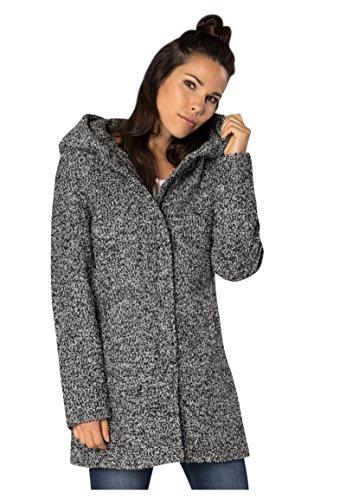 Sublevel Damen Wollmix Mantel mit Kapuze I Warmer Wintermantel im Melange Look in Schwarz & Grau Black M