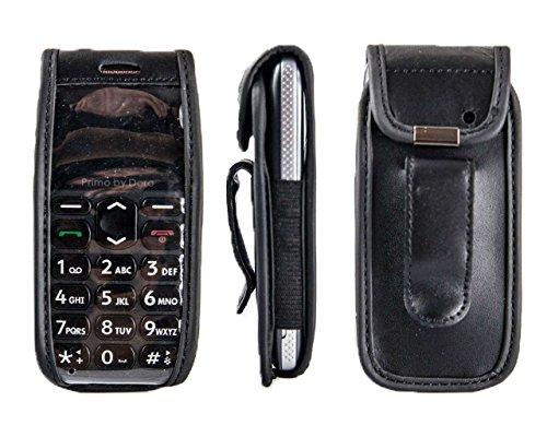 caseroxx Handy-Tasche Ledertasche mit Gürtelclip für Doro Primo 215 aus Echtleder, Handyhülle für Gürtel (mit Sichtfenster aus schmutzabweisender Klarsichtfolie in schwarz)