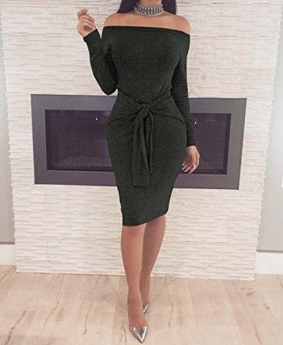 Femme Robe Tricot Sexy épaules Nus Lâche Manches Longues Mini Pull Robe avec Ceinture Mini Dress de Soirée Noir