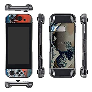 eXtremeRate Schutzmaßnahmen Crystal- Schwarz Case für Nintendo Switch Console und Joy-Con (mit Great Wave Skin Decal & Display Schutz)