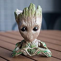 Meiqils Maceta Groot Flower Pot, Guardianes de la Galaxia Figura Groot Maceta y Caja de Lápices Plumas para Niña Niños Juguete