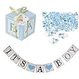 MagiDeal 12pcs Cajas de Caramelo de Papel Regalo de Bebé Azul + 50pcs Mini Encantos Chupetes de Bebé Azul + 1pcs Bandera de Ducha de Bebé It 's a Boy Apoyo de Fotografía