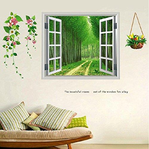 TIANLU Pvc-falsche Fenster Ansicht Schlafzimmer Wohnzimmer Wand Aufkleber beliebte Frische und stilvolle Zimmer in einem Home Office zwangloses Dekor Urban Wallpaper 50*110cm, rote Blume Wald (Wand-dekor Urban)