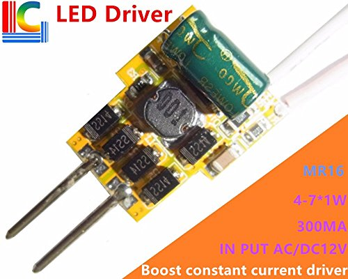 Buyme 1W 2W 3W 4W 5W 6W 7W Led Driver 300Ma 450Ma 600Ma Mr16 Power Supply for 2 Pins Led Spotlights 12V Transformer 7W, 0.3A