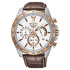 Seiko SSB306P1 Mens Chronograph Watch with Leather Strap