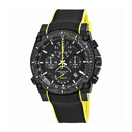 Bulova 98B312 - Reloj de pulsera para hombre (acero inoxidable y carbono forjado, 46,5 mm), color negro y amarillo