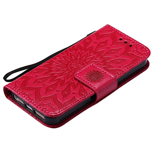 Custodia per Apple iPhone SE, ISAKEN iPhone 5S Flip Cover, iPhone 5 Custodia con Strap, Elegante Sbalzato Embossed Design in Pelle Sintetica Ecopelle PU Case Cover Protettiva Flip Portafoglio Case Cov girasole: rossa