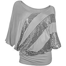 KIMODO Damen Bekleidung T Shirt Blusen Top Damen Mode Pailletten 3XL  Freizeithemd 9282462cf4