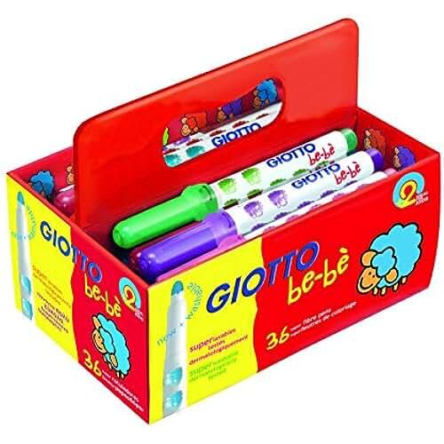 mas dibujos kawaii Giotto be-bè 461200 - Pack 36 rotuladores súper lavables, punta bloqueada que no se hunde, tapón ventilado y capuchón posterior de seguridad