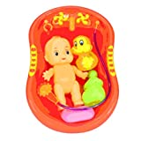 Cooplay 1 set Child Pretend Role Play Baby Doll Bathing Shower Bath Tub Bathroom Accessories Xmas gift Toy (red)