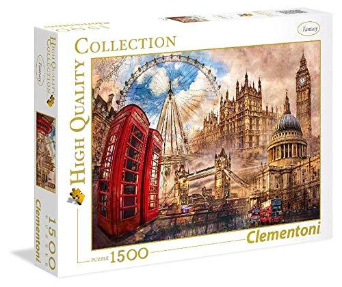 Clementoni Vintage London 1500 Pieza(s) - Rompecabezas (Contour Puzzle, Ciudad, Niños y Adultos, Vintage London, Niño/niña, 14 año(s))