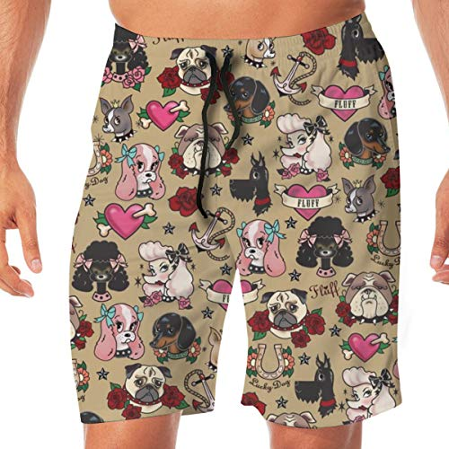 Nicegift Tattoo Pooch- Tan Surfing Pocket Elastic Waist Men's Beach Pants Shorts Beach Shorts Swim Trunks Large