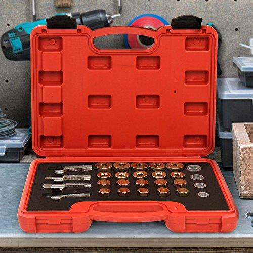 64-teiliges Reparaturset für Ölablassschrauben Reparaturset 64-teilig für Ölablassschraube aus Carbonstahl inkl. 4 verschiedene Gewindegrößen M13,M15,M17,M20