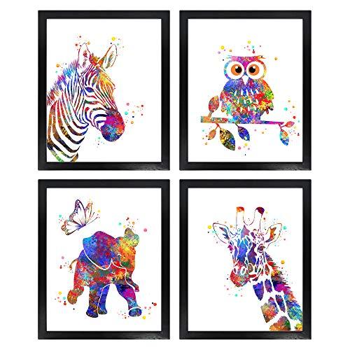 Dignovel Studios dnc8 Kunstdruck-Set für Babytiere, ungerahmt, Motiv: Zebra, Eule, Elefant, Giraffe, 4 Stück